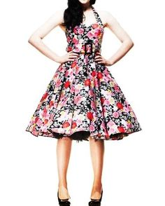 HELL BUNNY Kitsch 50s DRESS Floral Skulls VONNIE Black Pink: Amazon.co.uk: Clothing