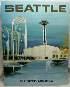 United Airlines poster for Seattle, 1970s