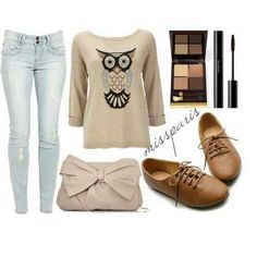 Fall outfit for school owls are gonna by my new print