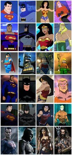 Superheroes; Superman, Batman, Wonder Woman, Aquaman.