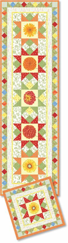 Fresh Flowers Table Runner by Moda.  Get your Moda fabrics at www.thethriftyneedle.com