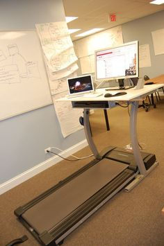 Walk & Code DIY Treadmill Desk by Doug at 8th Light: By removing the control console and replacing it with a desk, a large and stable work surface is created. For those of us who get stiff and kinked sitting in front of a monitor this would be so great!