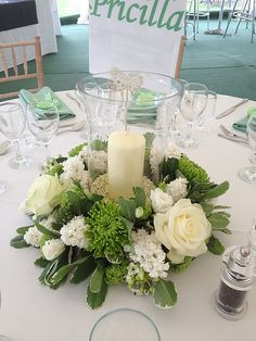 Acid Green and Cream Themed Wedding - very similar to my wedding flowers! Candle Centerpieces, Floral Centerpieces, Wedding Centerpieces, Wedding Bouquets, Centrepieces, Hurricane Centerpiece, Flower Bouquets, Bridal Flowers, Wedding Table Decorations