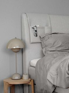 Grey and beige bedroom. Bed from Jensen. Lamp Flowerpot/And Tradition and Normad stool/Skagerak from Hviit. Decor Room, Living Room Decor, Home Decor, Bedroom Lamps, Master Bedroom, Bedroom Bed, Minimalist Bedroom, Minimalist Home, Bedroom Orange