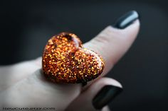 Halloween Ring Tourmaline Orange Glitter Ring Handcast by isewcute #cute #resin #jewelry