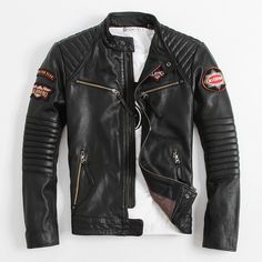 jacket leather on sale at reasonable prices, buy 2014 USA Motorcycle clothing Stand collar Short paragraph Indian chief embroidery Cowhide Men's leather jackets Limited amount from mobile site on Aliexpress Now! Leather Jacket Outfits, Men's Leather Jacket, Biker Leather, Leather Men, Black Leather, Leather Jackets, Custom Leather, Cool Jackets For Men, Stylish Jackets