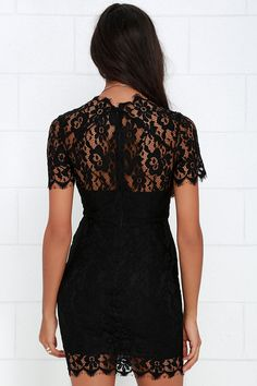 What in Carnation Black Lace Dress at Lulus.com!