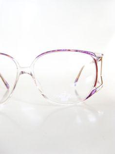 Vintage Avant-Garde Eyeglasses Womens New Wave Fashion Granny Chic Oversized Huge Purple Lilac Pastel Metallic 1980s 80s Glam Rocker