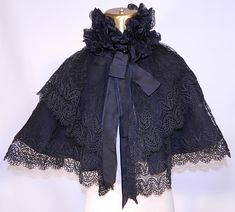 Victorian Black Net Lace Silk Neck Ruffle Mourning Cloak Cape Capelet