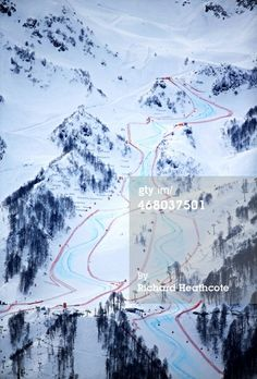 The alpine downhill course is seen during day two of the Sochi 2014 Winter Olympics at Laura Cross-country Ski & Biathlon Center on February...