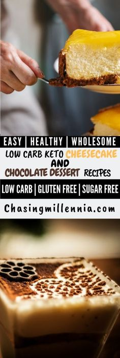 My favorite low carb ketosis desserts that I've curated just for you guys.  Alot of keto recipes here are of mug cakes, cheesecakes, pumpkin pies, chocolate chips and some even use a crockpot.  All the recipes listed here use stevia, almond flour, almond butter, cream cheeses and all of them are dairy free.  These fat bombs are low carb, delicious and will absolutely suit your weight loss program.  #ketorecipes  #ketorecipeseasy  #ketodessert Sugar Free Cheesecake, Low Carb Cheesecake Recipe, Sugar Free Desserts, Ricotta Cheesecake, Low Carb Sweets, Low Carb Desserts, Easy Desserts, Dessert Recipes, Low Carb Chocolate