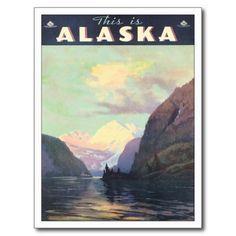 Vintage Alaska US Travel Poster Art Post Card