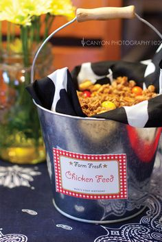 western party ideas...yeehaw birthday, western parti, party snacks, barn parties, chex mix, chicken feed, cowboy party, food labels, farm party