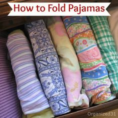 Organized 31 - Couch Potato Organizing - How to Fold and File Pajamas