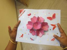 Pop Up Flower Card: Every one of us like to make crafts especially girls. if there is a birthday of our friend we used to buy greeting cards from shops. Instead of buying greetings from the shops by useless spending of money we can make greeting cards by ourself withi… Pop Up Flower Cards, Greeting Cards, Paper, Birthday, Flowers, How To Make, Shops, Crafts, Stuff To Buy