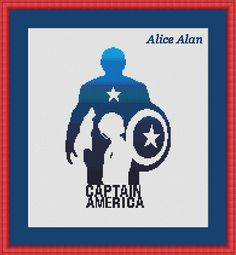 Captain America silhouette superhero Comics TV films от HallStitch