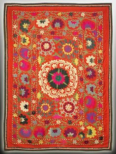 Uzbek suzani from Shahrisabz. A cheerful color combo -- via Kathrin Dream Suzani Fabric, Kitsch, Traditional Fabric, Weaving Textiles, Of Wallpaper, Embroidery Techniques, Oriental Rug, Vintage Rugs, Textile Art