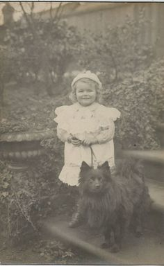 POMERANIAN SPITZ & SMALL CHILD REAL PHOTOGRAPHIC DOG POSTCARD
