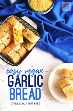 This easy vegan garlic bread can be on the table in 15 minutes flat!  Maybe even faster!  It's the perfect accompaniment for family pasta night!!! (#vegan #dairyfree #nutfree #pastanight)