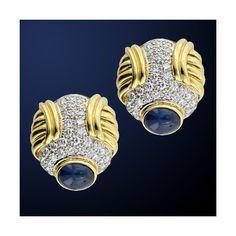 HARRY WINSTON Diamond Sapphire Earrings(1990's) ❤ liked on Polyvore