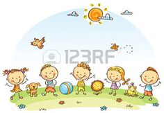 Buy Happy Cartoon Kids Outdoors on a Green Meadow by katya_dav on GraphicRiver. Happy cartoon kids outdoors on a green meadow, vector Happy Cartoon, Cartoon Kids, Drawing For Kids, Art For Kids, Back Art, Cute Pins, Free Vector Art, Clipart, Design Bundles