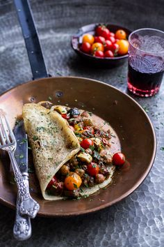 Rava Dosa (Indian Crepes) with Summer Squash + Tomato Chickpea Masala made with canned coconut milk.