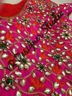 Super super super super Pink Saree Blouse, Pattu Saree Blouse Designs, Stone Work Blouse, Mirror Work Blouse, Embroidery Suits, Beaded Embroidery, Embroidery Designs, Best Blouse Designs, Bridal Blouse Designs