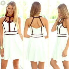Fancy caged front dress Very adorable white and black dress! Material is super soft and has a silky feeling. Fits US 6 best. From AU. Shows off just the right amount of cleavage! Zip back. Adorable dress for a great price! This design is simply adorable!❤️ Dresses Mini