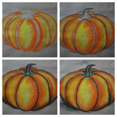 Step by step on how to draw and shade pumpkins with oil pastel in step by step oil pastel drawing collection - ClipartXtras Chalk Pastel Art, Oil Pastel Art, Chalk Pastels, Pastel Drawing, Oil Pastels, Chalk Art, Fall Art Projects, School Art Projects, Halloween Art Projects