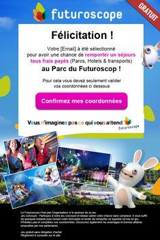 Futuroscope email contest design Parcs, Landing, Web Design, Design Web, Website Designs, Site Design