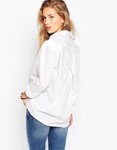 Image 3 ofASOS Slim Boyfriend White Shirt With Pleat Detail Back