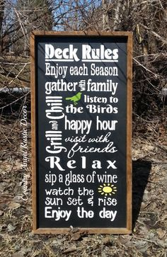 "DECK RULES Rustic distressed Typography/Subway wood sign 12""x24"", Outdoor Sign, Deck Sign, Cabin, Cottage, Backyard Sign"