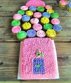 Gumball Cake. Butterfly - Best Birthday Pull Apart Cupcake Cakes. Simple creative cake inspiration for a birthday party celebration.