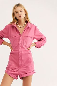 473246f8bef1 Pop Pink Prophecy One-Piece - Pink Long Sleeve Cargo Shortalls - Pink Cargo  Romper