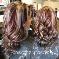 Dark brown with red and blonde chunky highlights. Red hair. Brown hair. Blonde hair. Chunky highlight. Curled hair.