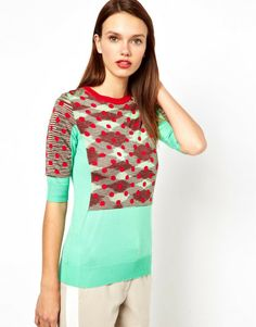 M Missoni Multicolor Colourblock Polkadot Knitted Top