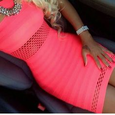 Sexy neon pink figure hugging dress