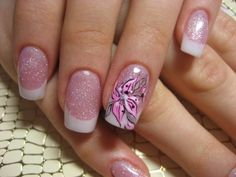 beautiful, light icy pink with a shimmer followed by a French tip with a tropical design of ring finger... oohh laa laa