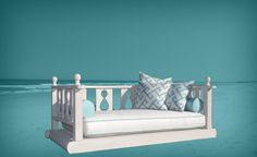 This Chippendale style porch bed swing was made with Cypress and Cedar and painted with a premium grade exterior house paint. The swing was hung usin… Outdoor Sofa, Outdoor Living, Outdoor Furniture, Outdoor Decor, Porch Bed, Porch Swing, Nautical Bedding, Pawleys Island, Bedroom Furniture Design