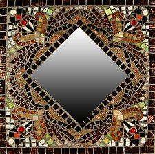 "Falling Leaves by Sandra Bryant and Carl Bryant (Mosaic Mirror) (16"" x 16"")"