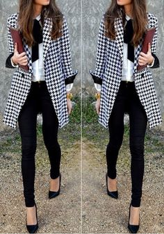 Black Houndstooth Print Turndown Collar Fashion Wool Coat, love it!    Check out this site!