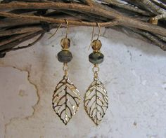 Gold Leaf Dangle Earrings with Czech Opaque Blue by SmockandStone, $13.00