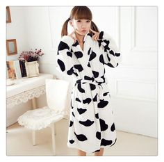 10d6daf31c Autumn Winter Unisex Animal Pajama Sets Home Furnishing Thick Flannel Robe  Cow Pattern Cartoon Nightgown Coral Fleece Bathrobe