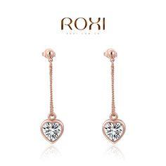 Marca ROXI Nueva Joyería de Amor Del Corazón Colgante de Oro Rosa Chapado Platium Ear Stud Pendientes Para Las Mujeres Joyería de La Boda Del Partido