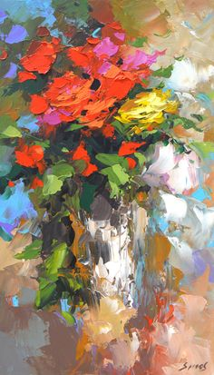 Roses Palette Knife Oil Painting on Canvas by Dmitry by spirosart