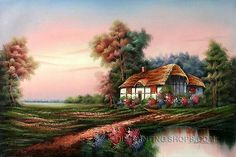"""Colorful Online Art Buy Painting Famous Cottage Oil Paintings Thomas, Size: 36"""" x 24"""", $103. Url: http://www.oilpaintingshops.com/colorful-online-art-buy-painting-famous-cottage-oil-paintings-thomas-1373.html"""
