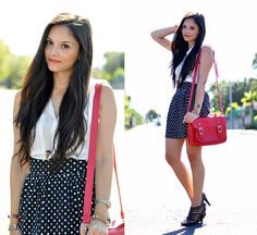 White Polka Dots... (by Alba .) http://lookbook.nu/look/3935968-White-Polka-Dots