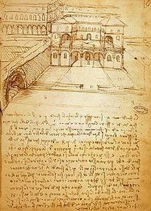 Studi per Sforzinda, la città ideale progettata da Leonardo per Ludovico il Moro.