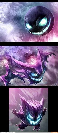 Gastly, Haunter and Gengar art (Dragolisco) - Pokemon Pokemon Fan Art, Ghost Pokemon, O Pokemon, Haunter Pokemon, Real Life Pokemon, Creepy Pokemon, Pokemon Cards, Pokemon Fusion, Pokemon Fantasma