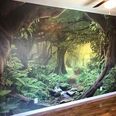 Professional Wallpaper, Canvas Art Prints, Canvas Wall Art, Large Wall Murals, Forest Mural, Stair Stickers, Fantasy Forest, Bedroom Murals, Magical Forest